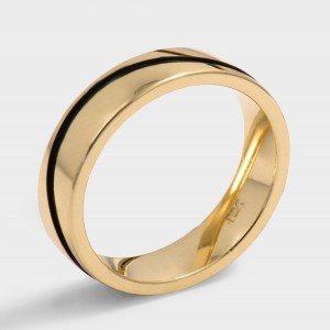 Ring classic model Ibiza. Yellow gold plated. Width 5mm. Surface Polished