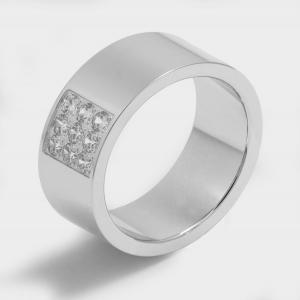 Ring with zircons model Manila. White, Platinum and Rhodium plated. Width 8mm. Surface Polished, With zircons 9 Zircons