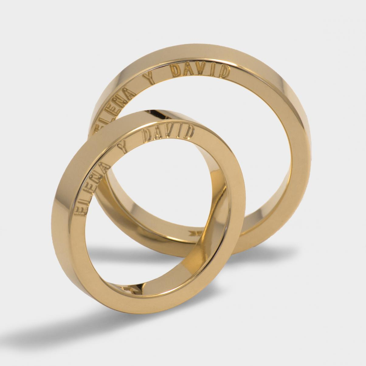 Ring classic model New York Yellow gold plated Width 4mm Rings